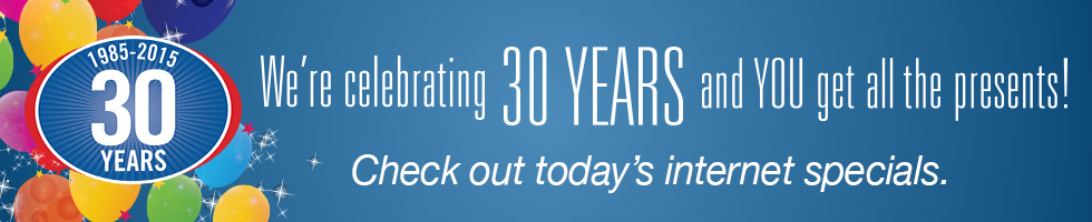 Celebrating 30 Years Specials Page Banner Image